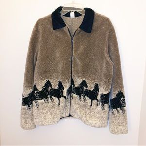 Vintage Winter Horse Western Fleece Jacket